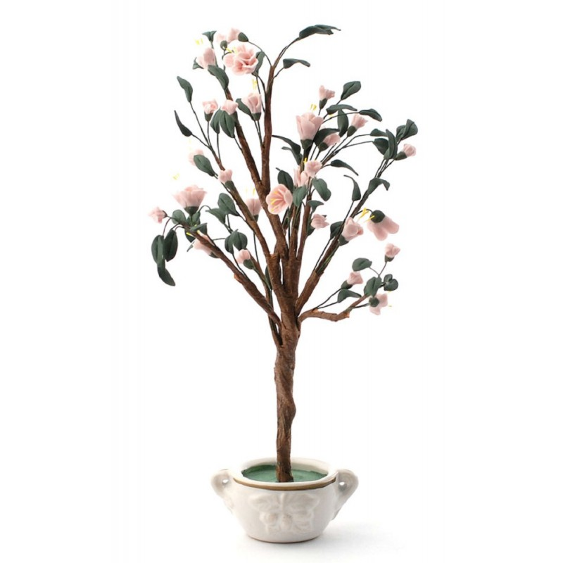 Dolls House Standard Pink Cherry Blossom Tree in Pot Miniature Garden Accessory