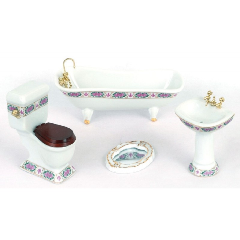 Dolls House White Bathroom Suite with Gold Pink Edging Porcelain Furniture Set