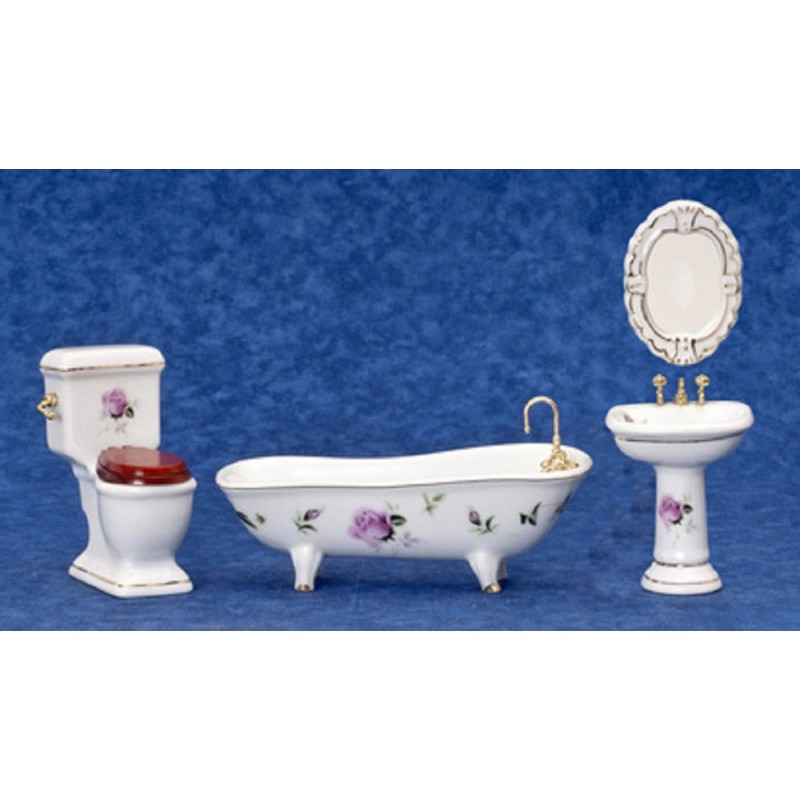 Dolls House Miniature 1:12 Furniture Set Pink Rose Gold Porcelain Bathroom Suite