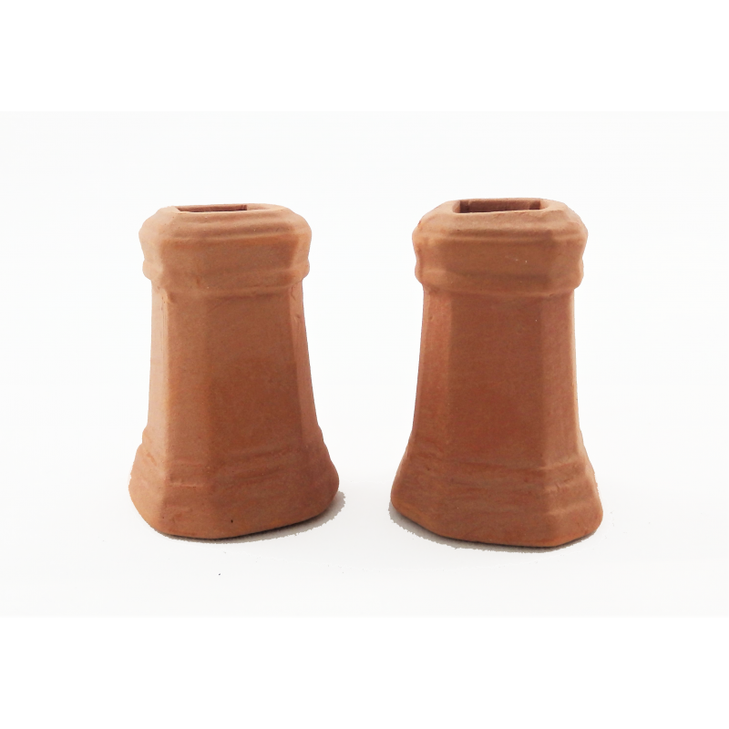 Melody Jane Dolls House Square Chimney Pots Terracotta Large 1:12 Scale