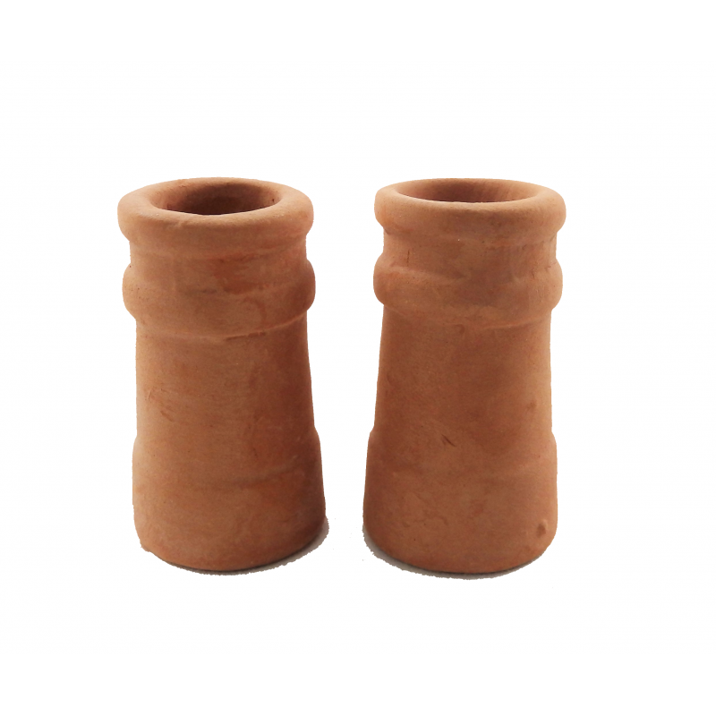 Dolls House Round Chimney Pots Terracotta Large 1:12 Scale