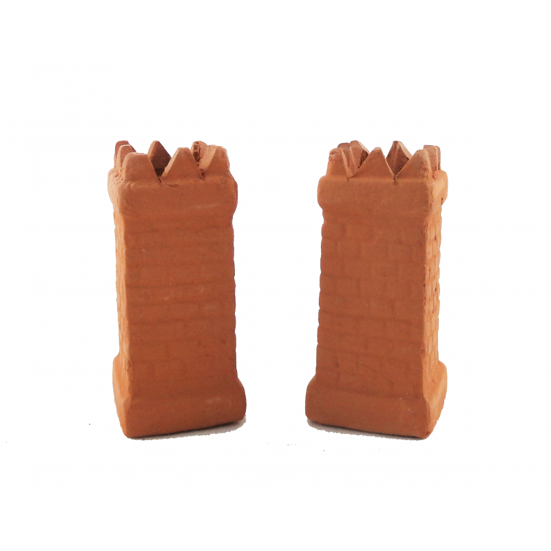 Dolls House Square Crown Chimney Pots Terracotta Medium 1:12 Scale Accessory