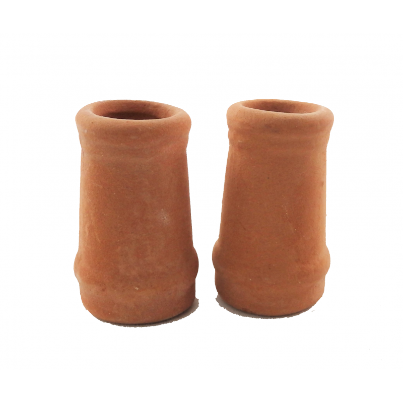 Melody Jane Dolls House Round Chimney Pots Terracotta Small 1:12 Scale