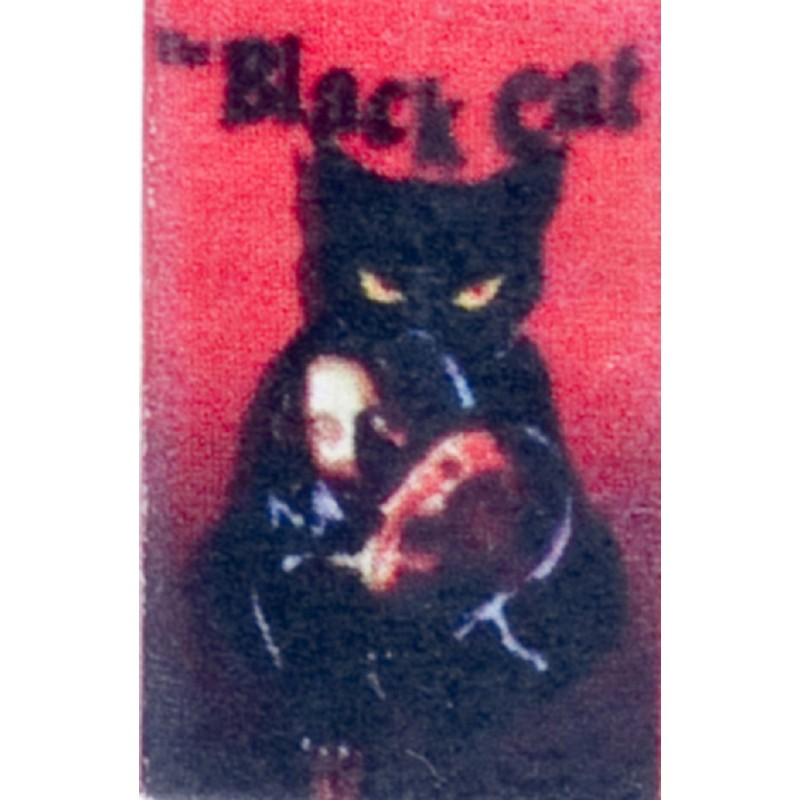Dolls House The Black Cat Book Printed Pages Tiny Details Halloween Accessory