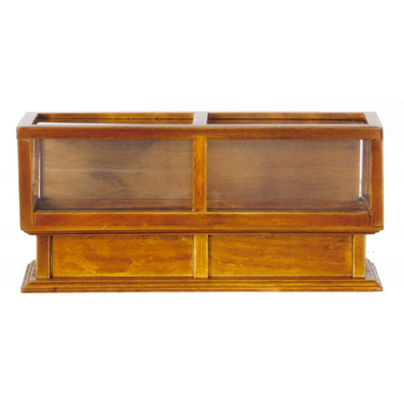 Dolls House Walnut Double Display Case Counter Miniature Furniture Shop Fitting