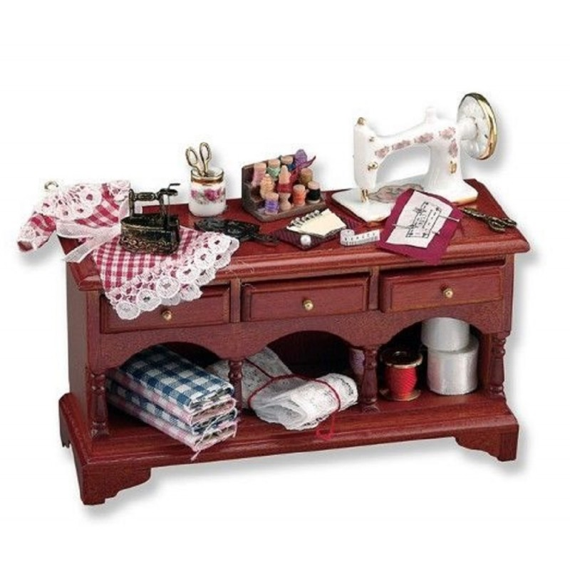 Dolls House Walnut Sewing Table & Accessories Reutter Porcelain