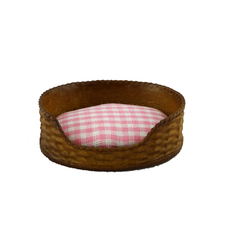 Dolls House Dog Cat Bed Basket Pink Check Cushion Miniature Pet Accessory