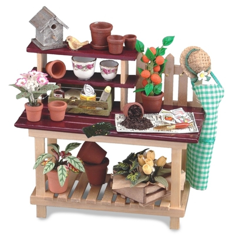 Dolls House Potting Bench with Flowers Plant Pots Tools & Accessories Reutter