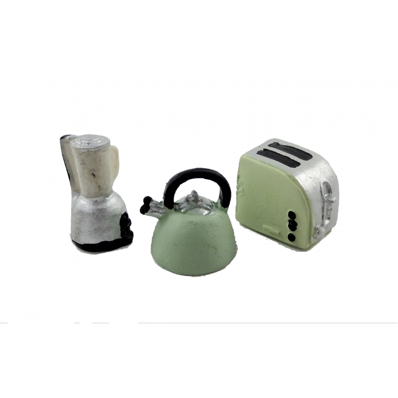 Dolls House Kettle Toaster & Liquidiser Miniature Modern Kitchen Accessory