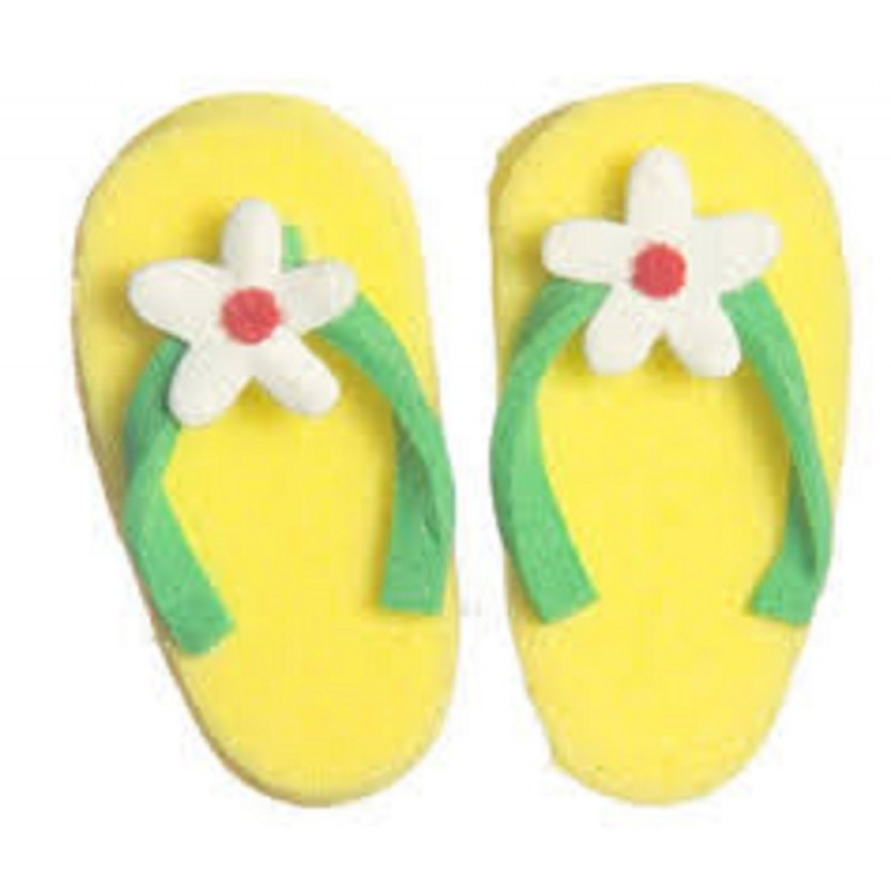 Dolls House Modern Flip Flops with Flower Yellow Summer Beach Accessory Shoes