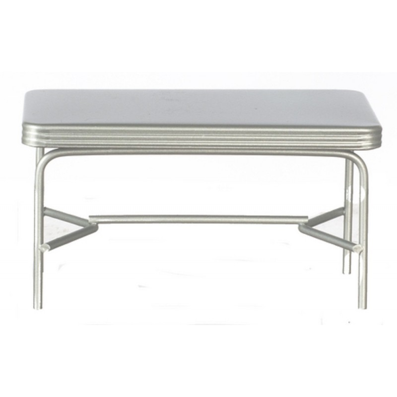 Dolls House 1950's Retro Silver Table Miniature Kitchen Diner Bar Cafe Furniture