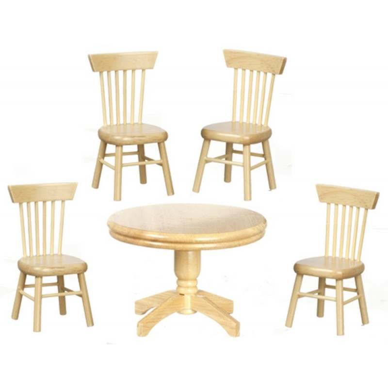 Dolls House Miniature Light Oak Dining Room Round Table 4 Chairs