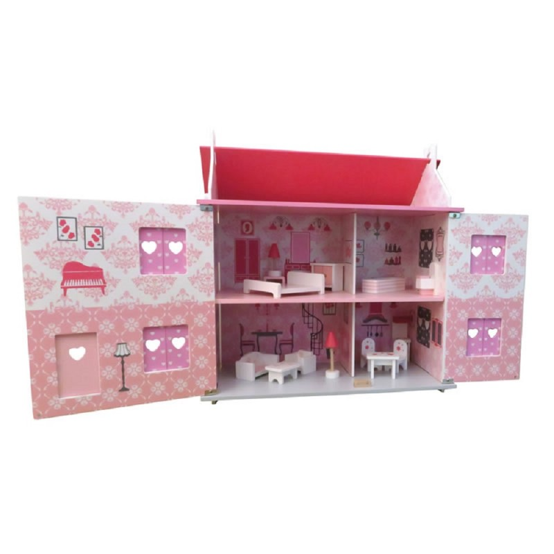 Diamond Dolls House Complete with Furniture Decorated Wooden Kit 3 Years Plus