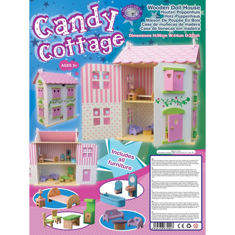 Candy Cottage Dolls House Complete with Furniture Wooden Kit 3 Years Plus