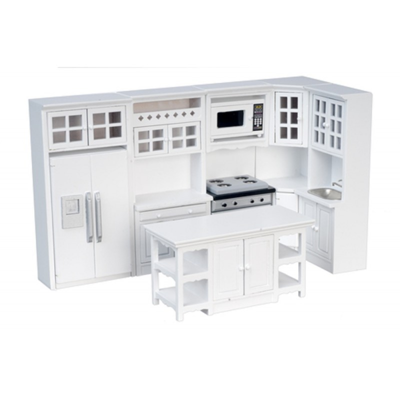 Dolls House Miniature 1:12 Modern White Wooden Fitted Kitchen Furniture Set