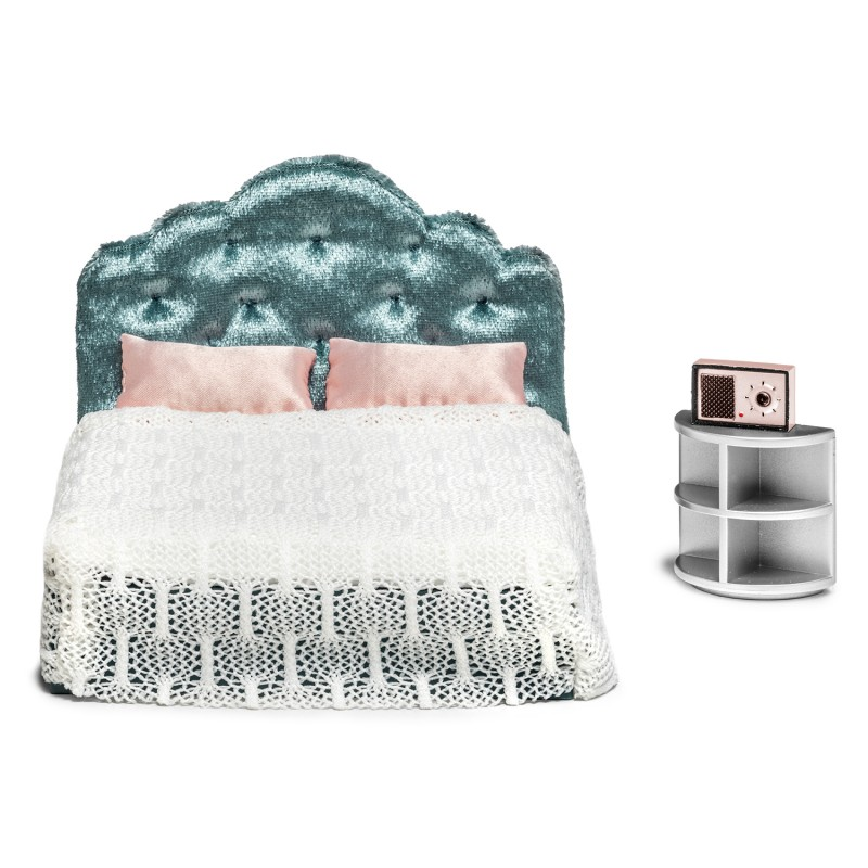 Lundby Dolls House Bedroom Furniture Set Modern Bed & Bedside Table