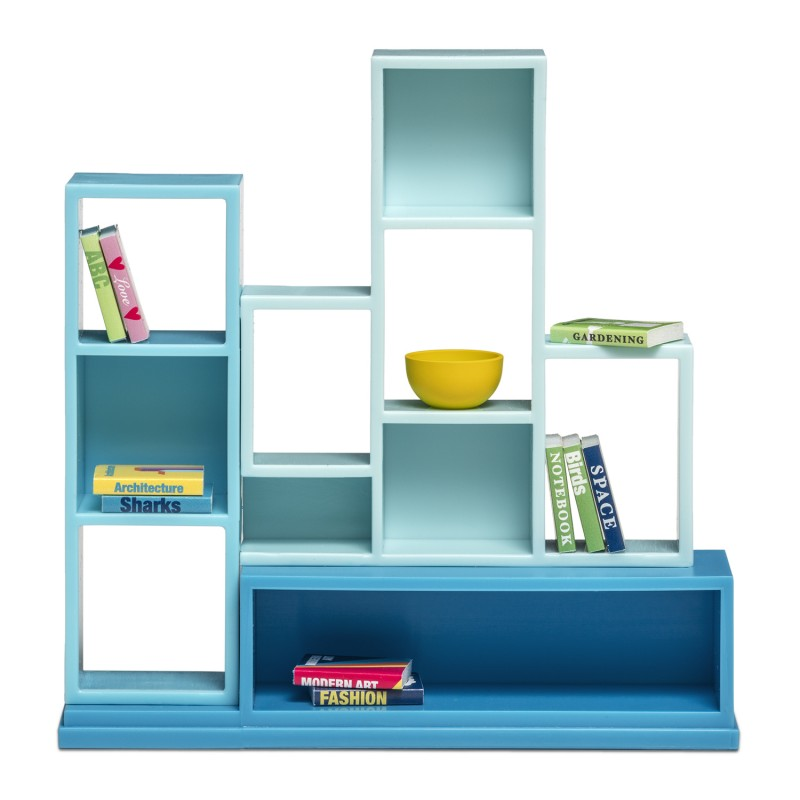 Lundby Dolls House Modern Bookcase Shelf Unit with Books