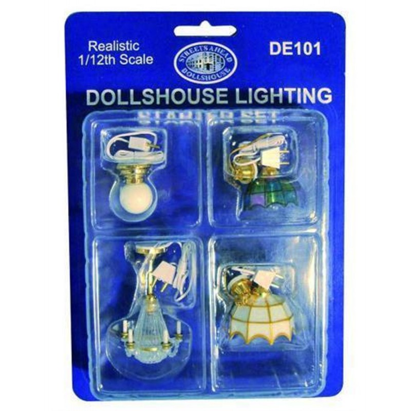 Dolls House Ceiling Lamp Starter Kit 4 Lights Wedding Cake Tiffany & Globe Style