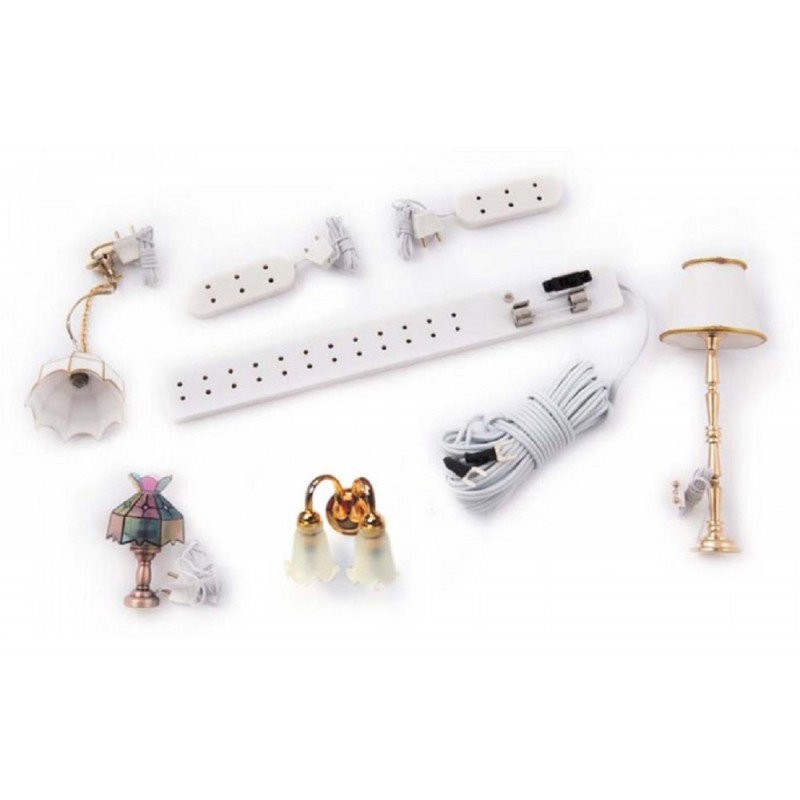 Dolls House Electric Light Starter Kit 4 Lights Socket Strip Extension Leads 12V