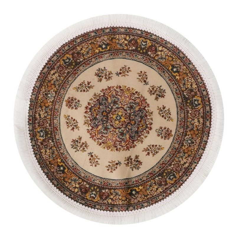 Dolls House Round Turkish Carpet Miniature Cream Circular Rug White Fringe