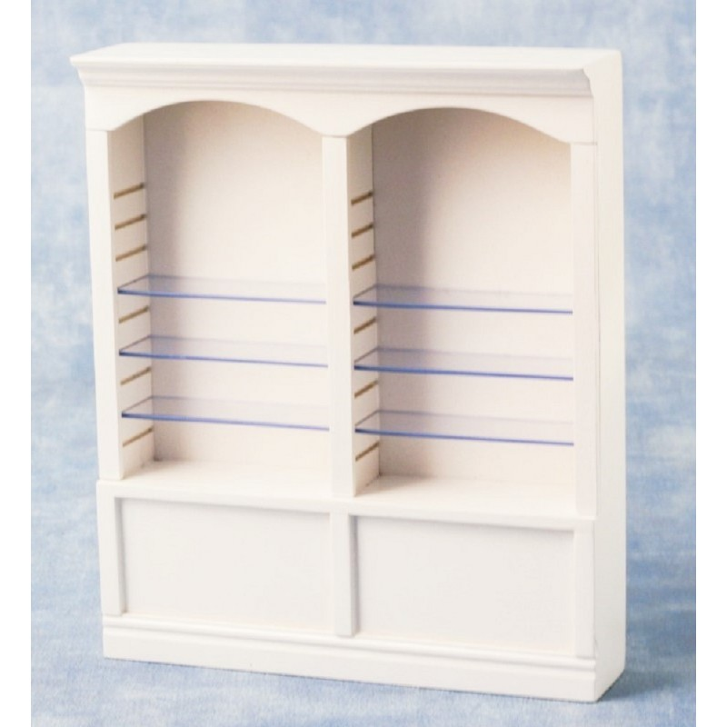 Dolls House 2 Bay Shop Fitting Double Store Display Shelf Unit White MINIATURE