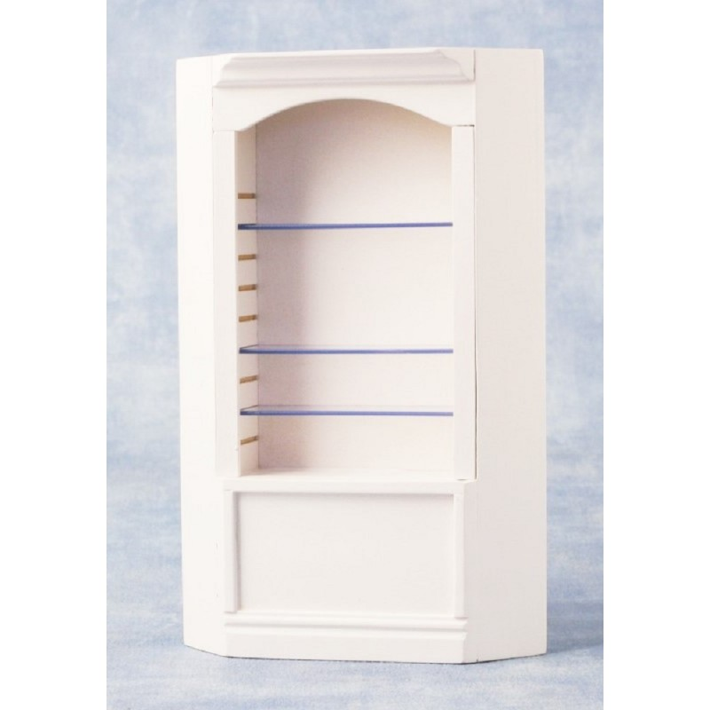 Dolls House Single Bay Corner Shop Fitting Store Display Shelf Unit White 1:12