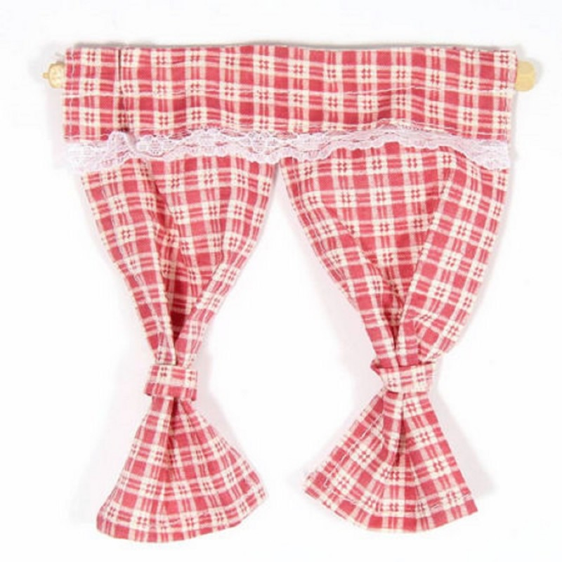 Dolls House Red Pink Gingham Curtains Tied Back on Rail 1:12 Window Accessory