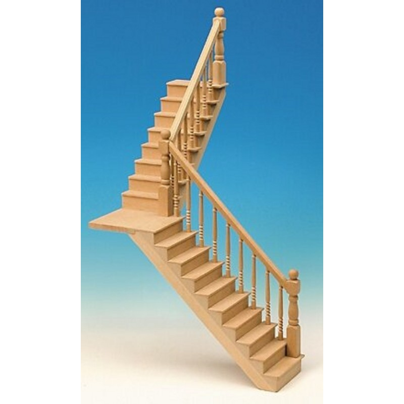 Dolls House Straight or Angled Staircase & Landing Kit Miniature DIY Wood Stairs