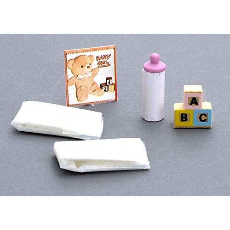 Dolls House Miniature 1:12 Scale Nursery Accessory Baby Items Set Nappies Bottle