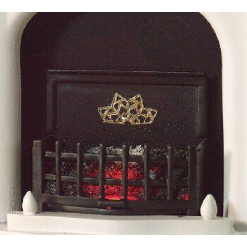 Dolls House Light Up Fire Grate with Glowing Coals Electric Fireplace Accessory