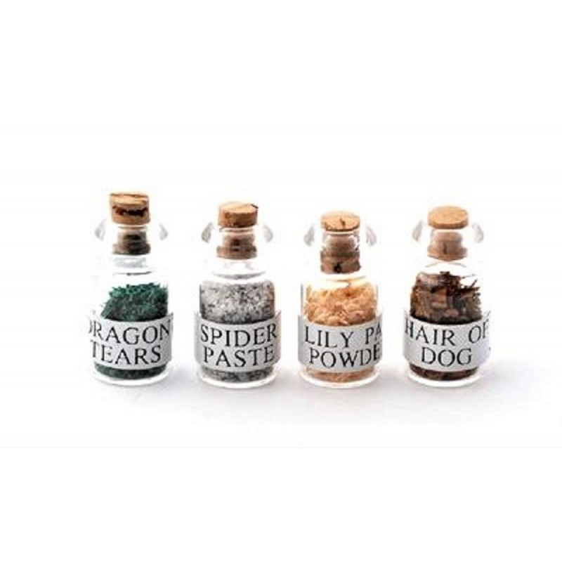 Dolls House Witch's Potion Spell Ingredients in Jars 1:12 Halloween Accessory