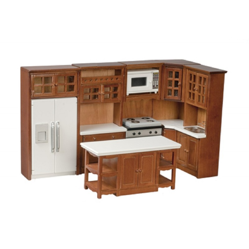 Dolls House Modern Walnut Fitted Kitchen Furniture Set Miniature Wooden 1:12