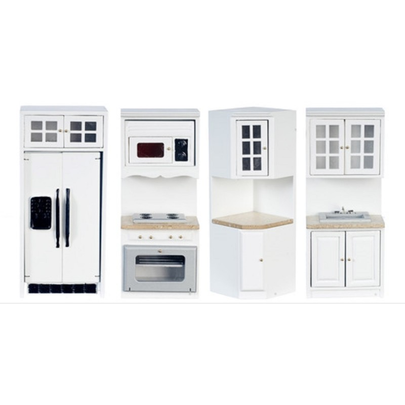 Dolls House Modern White Fitted Kitchen Furniture Set Marble Effect Worktops 4pc