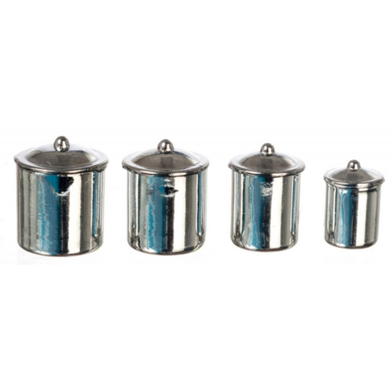 Dolls House Miniature Kitchen Accessory Chrome Canister Set of 4
