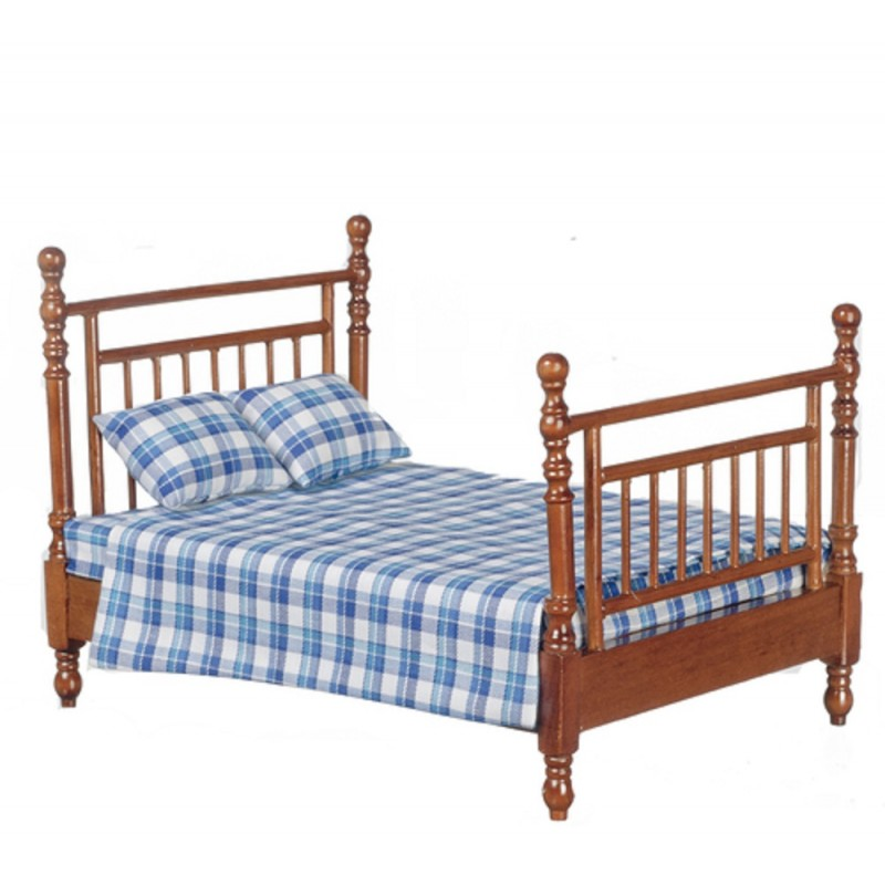 Dolls House Walnut Double Bed Blue Check Bedding Miniature Bedroom Furniture
