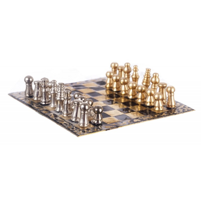 Dolls House Chess Set Miniature 1:12 Scale Study Pub Accessory