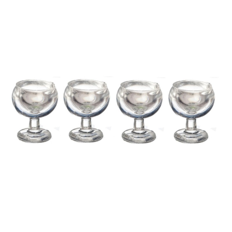 Dolls House 4 Wine Glasses Miniature 1:24 Half Inch Scale Dining Room Accessory