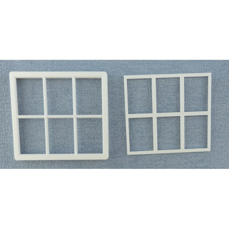 Dolls House White Plastic Georgian Window Frame 6 Pane Miniature DIY Builders