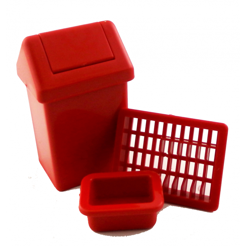 Dolls House Swing Bin Dish Drainer & Washing Up Bowl Kitchen Accessory Set Red