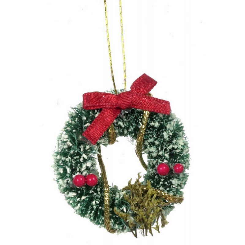 Dolls House Miniature 1:12 Christmas Accessory Decorated Snowy Christmas Wreath