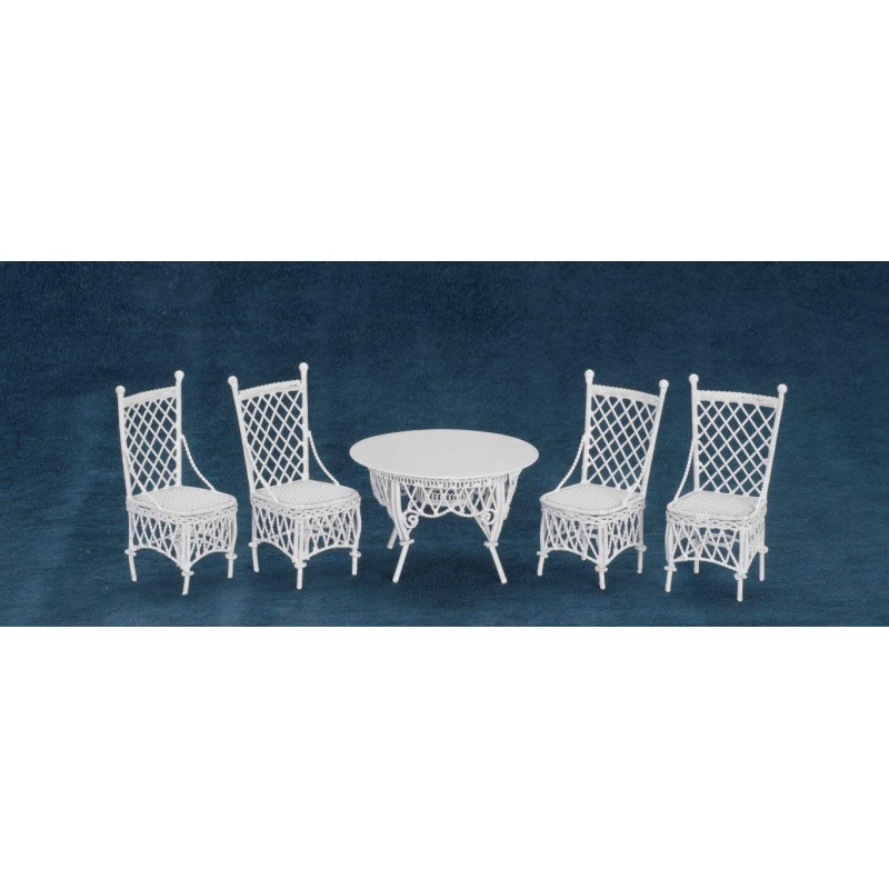Dolls House Miniature Garden Furniture Wrought Iron Gathering Table and 4 Chairs