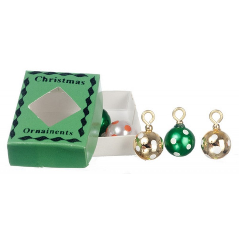 Dolls House Decorations 6 Baubles in a Box Miniature Christmas Tree Ornaments