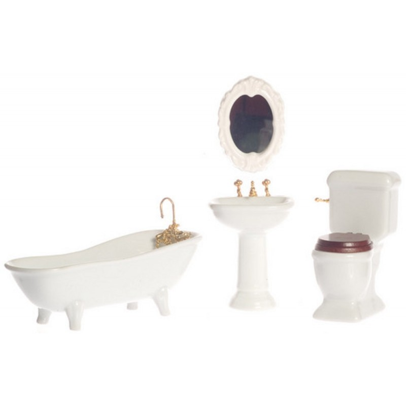 Dolls House Plain White Porcelain Bathroom Suite Miniature Furniture Set