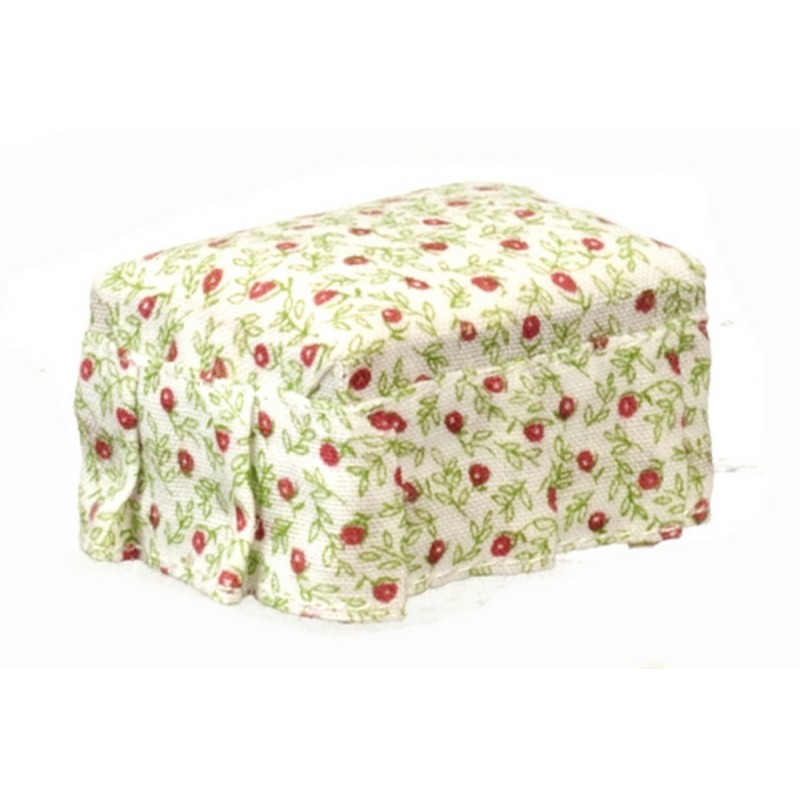 Dolls House Miniature 1:12 Scale Living Room Furniture Chintz Cherry Poufee Foot Stool