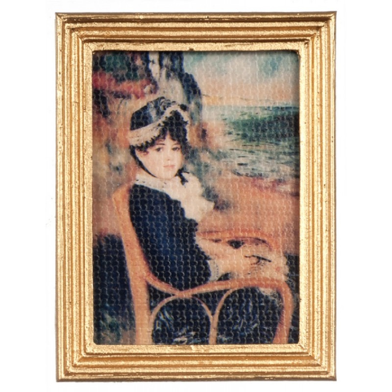 Dolls House By the Beach Picture Painting Gold Frame Falcon Miniature Accessory