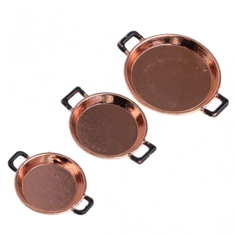 Dolls House Miniature Kitchen Accessory Set of 3 Copper 2 Handled Frying Pans