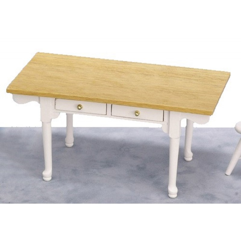 Dolls House White Oak Farmhouse Table Rustic Kitchen Dining Room Furniture
