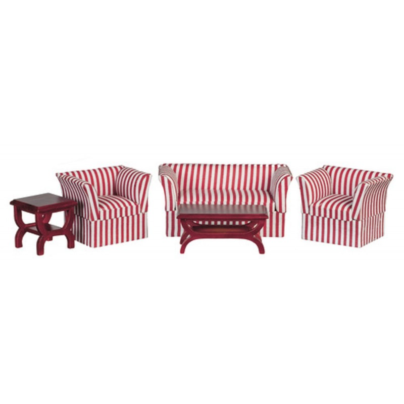 Dolls House Miniature 1:12 Scale Living Room Furniture Set Art Deco Striped Suite