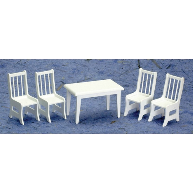 Dolls House Miniature Kitchen Dining Furniture Set Suite White Wood Table Chairs