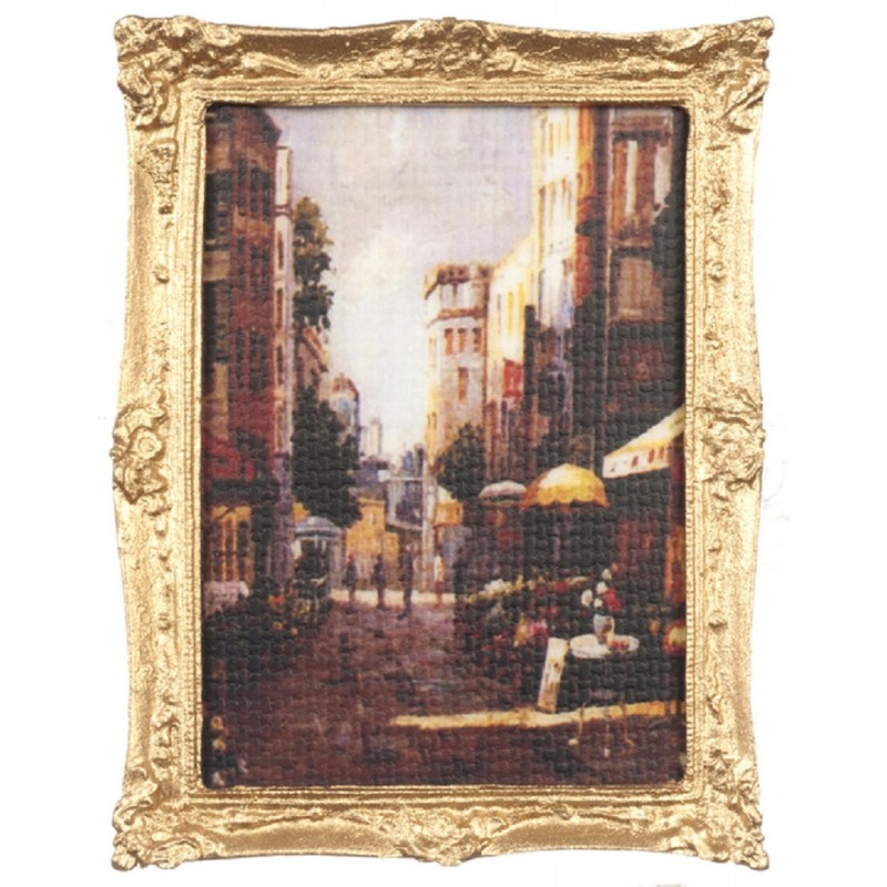 Dolls House City Street Scene Painting Gold Frame Falcon Miniature Accessory